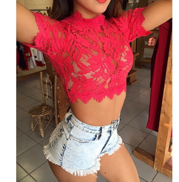 top lace mesh red