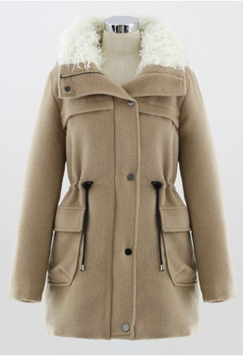 Belted Shearling Hooded Coat in Camel - Retro, Indie and Unique Fashion