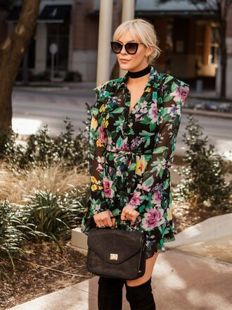 the courtney kerr blogger dress shoes bag sunglasses jewels floral dress thigh high boots boots