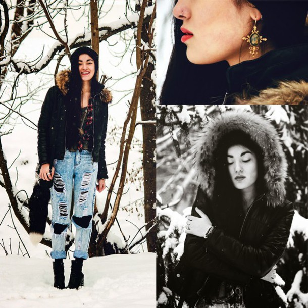 alessandra kamaile blogger shirt mom jeans ripped jeans winter outfits parka jacket top jeans bag jewels