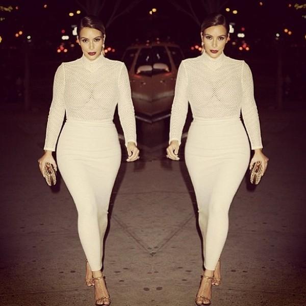 kim kardashian skirt dress cream sheer summer elegant bodysuit shirt
