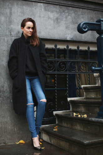 style scrapbook jeans sweater coat shoes
