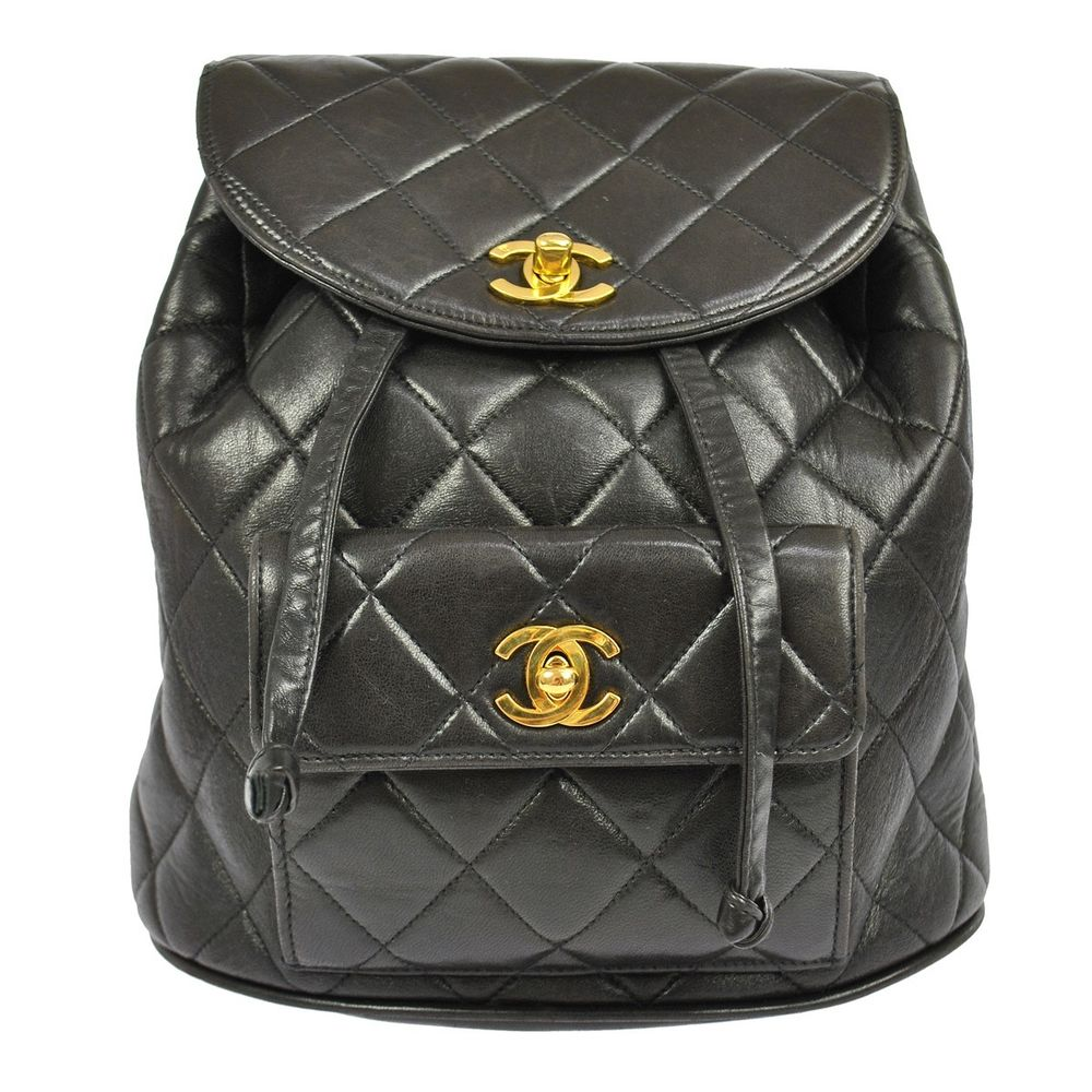 Authentic Chanel Quilted Chain Backpack Bag Black Leather Vintage France H02168 | eBay