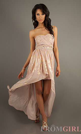 Jump High Low Strapless Print Dress, Prom Party Dress- PromGirl