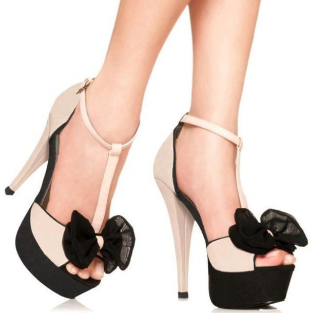shoes high heels stilletoes black and biege bows on shoes platform high heels