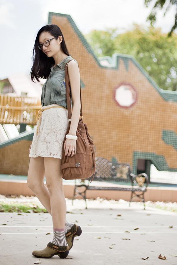 pupuren top skirt socks sweater shoes bag