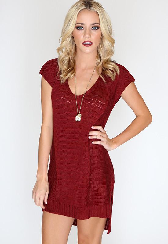 Secret Knit Dress - Wine