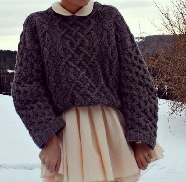 sweater nice amazing girly cable knit knitted sweater winter outfits grey cable knit sweater oversized sweater oversized mini skirt