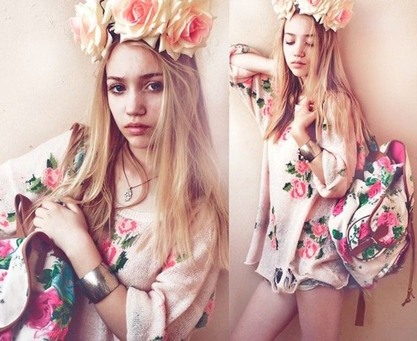 sweater flower crown self made flower crown backpack rucksack braclet shorts aksinya air ukraine