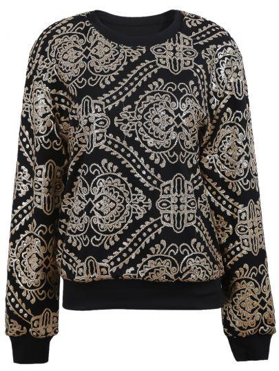 Black with Gold Sequined Embellished Geo Pattern Sweatshirt - Sheinside.com
