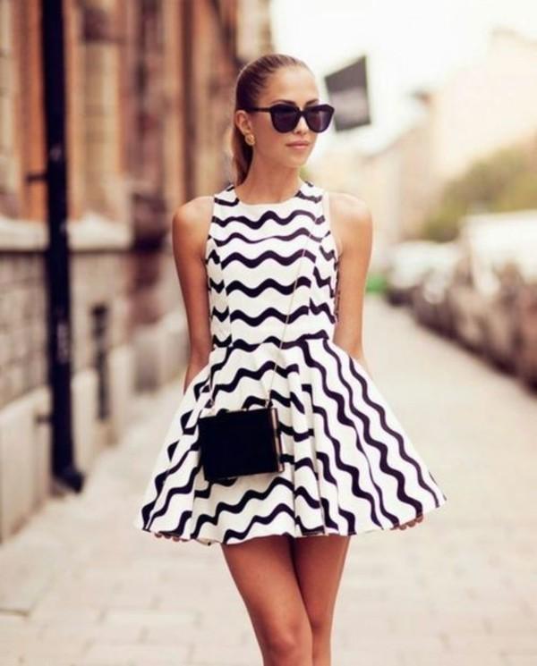 dress black and white aztec full skirt dress