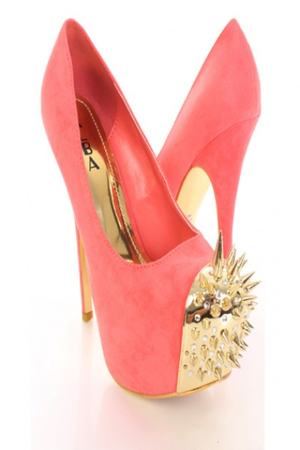 Coral Gold Faux Suede Spike Studded Rhinestone Decor Round Toe Heels @ Amiclubwear Heel Shoes online store sales:Stiletto Heel Shoes,High Heel Pumps,Womens High Heel Shoes,Prom Shoes,Summer Shoes,Spring Shoes,Spool Heel,Womens Dress Shoes,Prom Heels,Prom