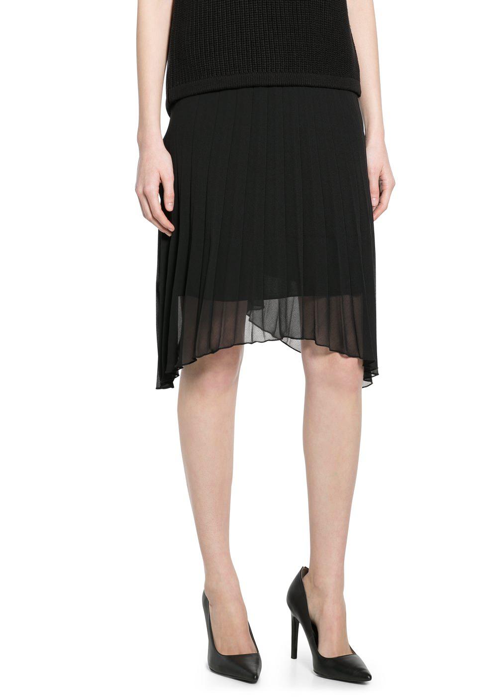Pleated chiffon skirt -    Women - MANGO