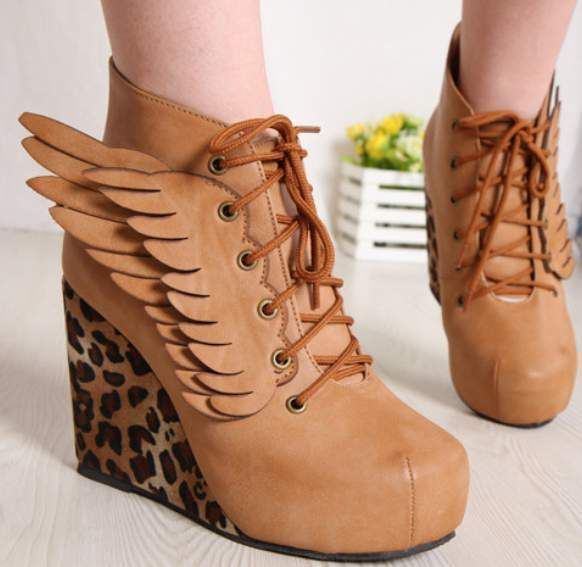 Hot Leopard Angel Wings Sexy Wedge Heels Platform Round Toe Womens Boots Shoes   eBay