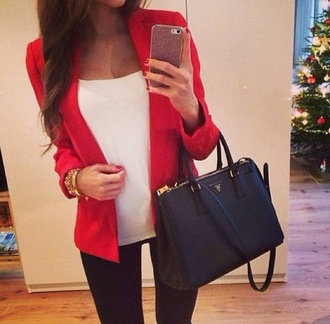 bag black blazer red jacket tank top mickaelkors coat top classy