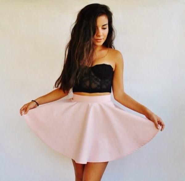 skirt tank top t-shirt bandeau noir pink shirt