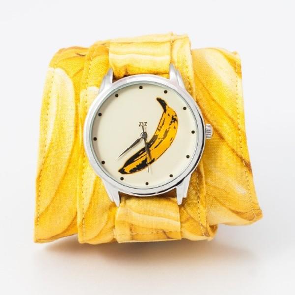 jewels watch watch yellow banana print ziziztime ziz watch