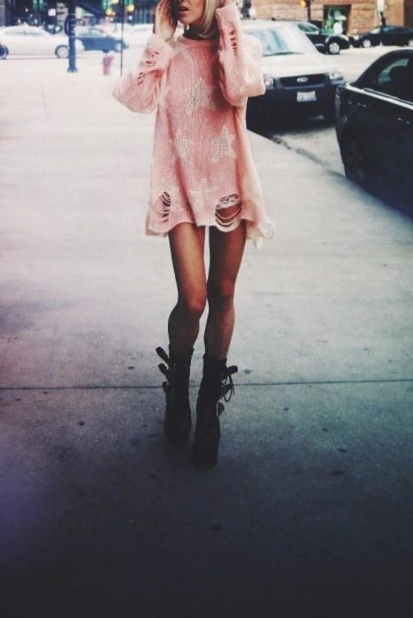shirt sweater distressed sweater pastel grunge pastel pastel pink shoes