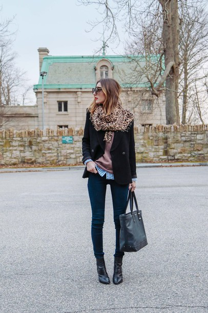 prosecco and plaid blogger scarf leopard print preppy tote bag skinny jeans