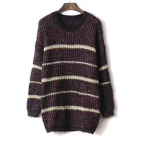 sweater contrast color loose long