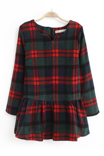 Vintage Tartan Check Frilly Dress [FXBI00389]- US$ 27.99 - PersunMall.com