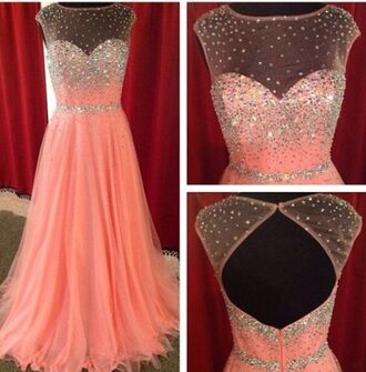 dress prom dress sparkle long prom dress beaded glitter prom dress pink sparkly dress peach beautiful pink long prom dress lace dress diamons princess sequins jewels illusion neckline pink dress pink prom dress tulle prom dress beading prom dress