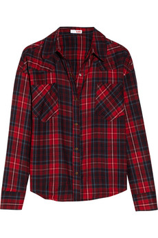 LNA Cropped plaid cotton-flannel shirt - 50% Off Now at THE OUTNET