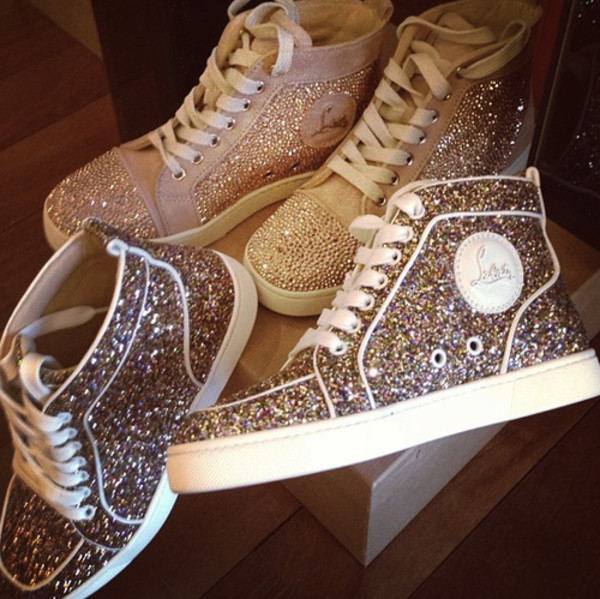 shoes sequins glitter sneakers high tops flat snickers fashion style outfit girl trendy love like gold sparkle gorgeous best lovely louboutin white snakers glitter shoes laboutin louboutin high top sneakers