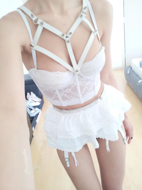 underwear bra white sexy lingerie lolita kawaii garter harness lingerie bridal lingerie sexy skirt cute adorable outfit lingerie set white lingerie nymphet