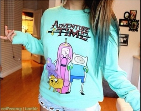 sweater adventure time sweater adventure adventure time blue green turquoise light blue cute sweatshirt