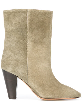 women boots suede boots leather suede green shoes