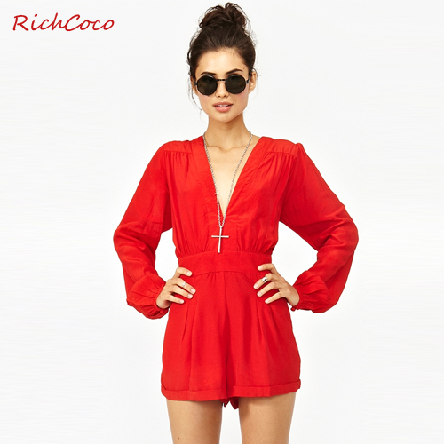 Beauty Queen 2014 New Summer Fashion Sexy Deep V neck Long sleeve Red Chiffon Short Pant Overalls Women Jumpsuit Rompers-inJumpsuits & Rompers from Apparel & Accessories on Aliexpress.com
