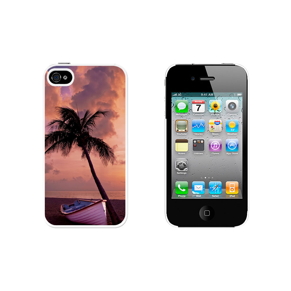 Palm Tree and Boat Tropical Beach Ocean Case for Apple iPhone 4 4S White | eBay