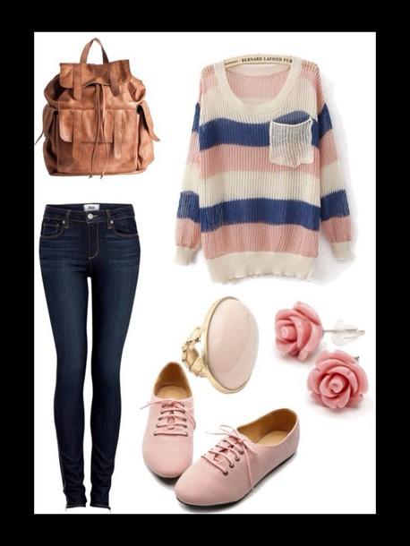 oversized sweater pretty skinny jeans earrings pocket t-shirt girly roses striped sweater socks make-up bag shoes