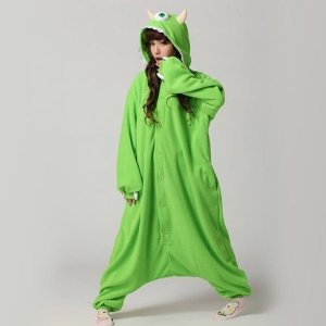 Amazon.com: Ghope Adult Monsters University Mike Wazowski&sulley Costume Pajamas Cosplay Onesie Mike M Size: Toys & Games