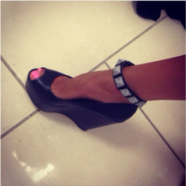 shoes heels black wedges back lovely wedges studded shoes fashion style