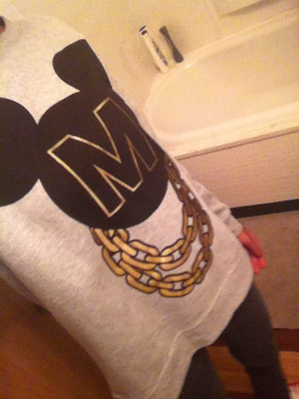 sweater mickey mouse sweater grey sweater mickey mouse gold chain