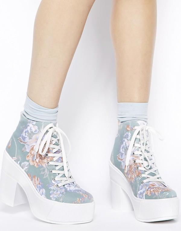 shoes shellys london blue floral print black heeled lace up ankle boots floral floral shoes floral boots boots