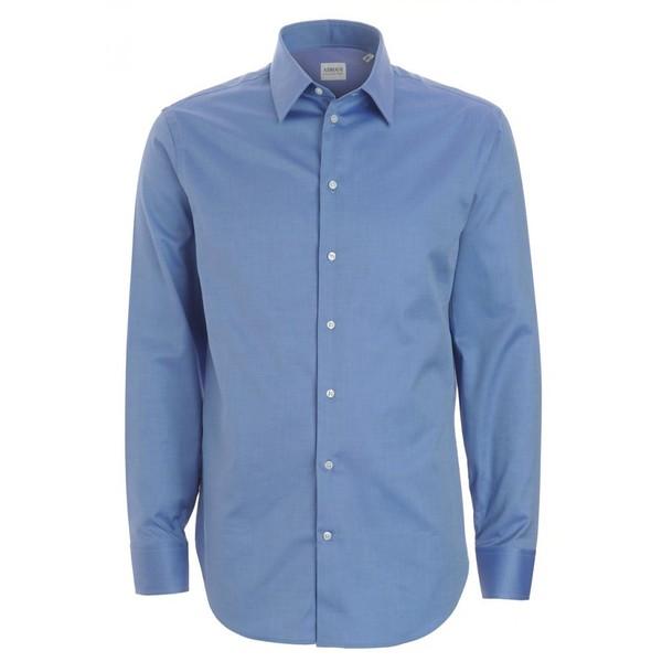 Armani Collezioni Shirt, Royal Blue Modern Fit Luxury Cotton... - Polyvore