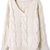 Beige Batwing Long Sleeve V-neck Cable Sweater - Sheinside.com