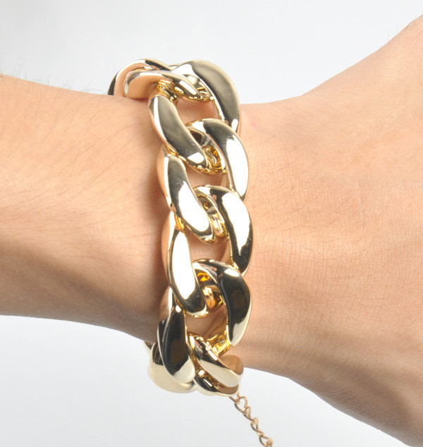 New Fashion Light Gold Plated Chunky Curb Chain Link ID Bib CCB Plastic Bracelet | eBay
