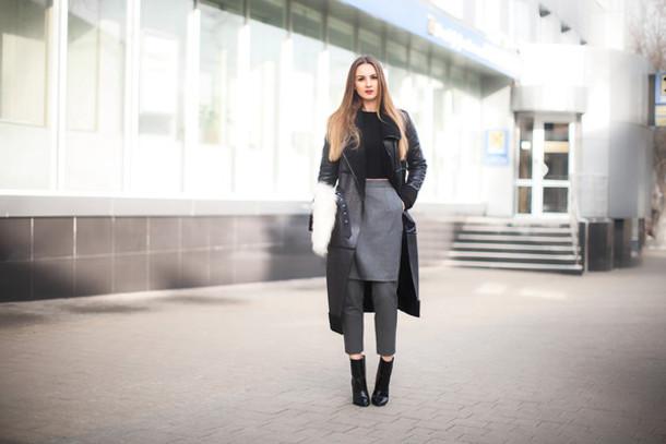 fashion agony blogger cropped pants grey skirt black boots grey coat