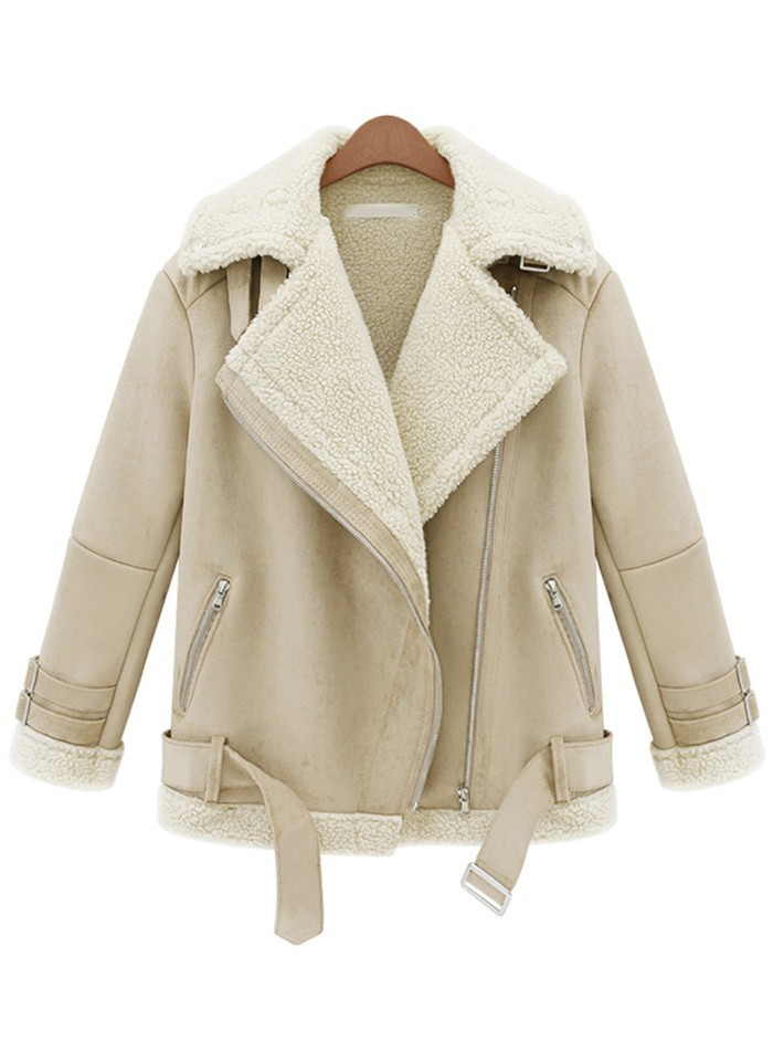 Free Shipping New Autumn/Winter Hot Sale Design Fashion Women's Cool Beige Lapel Long Sleeve Zipper Wool Coat-in Basic Jackets from Apparel & Accessories on Aliexpress.com