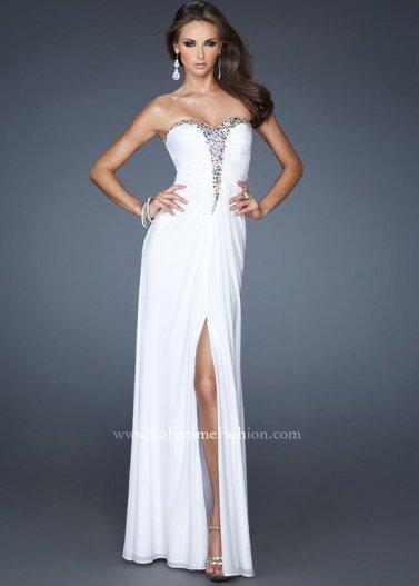 White Pleated T-shaped Jeweled Neck Slit Leg La Femme 18934 Dress [La Femme 18934 White] - $178.00 : Prom Dresses 2014 Sale, 70% off Dresses for Prom