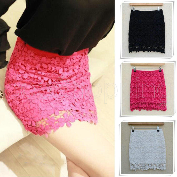 Hot Lady Crochet Embroidery Floral Lace Double Layer Lining Bodycon Mini Skirt | eBay