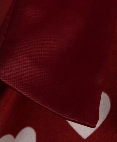 Vintage Hearts Print Chiffon Blouse with Epaulets - Clothing