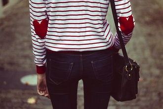 shirt stripes red and white stripes red long sleeve shirt heart print heart elbow patches lovely hipster jeans pants teenagers