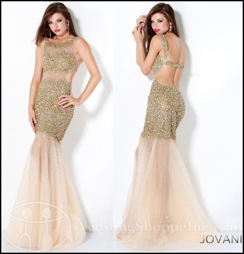 JOVANI Sheer Panel Sequin Designer Prom Gown Style 171100 Size 8 | eBay