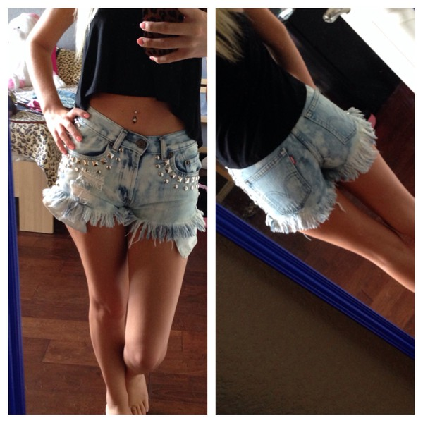 denim shorts jeans studded shorts High waisted shorts studded high waist shorts shorts