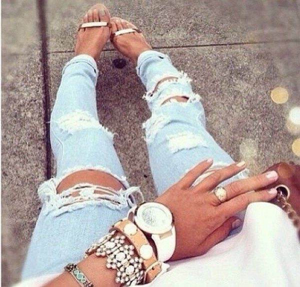 jeans blue wash ripped skinny jeans shoes jewels